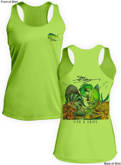 Fish N' Chips- Ladies Racerback Tank-100% Polyester