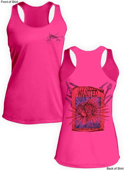 Lionfish Wanted- Poster- Ladies Racerback Tank-100% Polyester