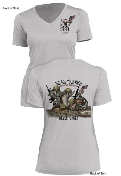 NEW! Memorial Last Call- Ladies Short Sleeve V-Neck-100% Polyester