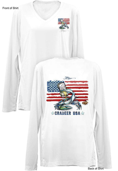QUICK SHIP- Crabeer USA- LADIES Long Sleeve V-Neck-100% Polyester