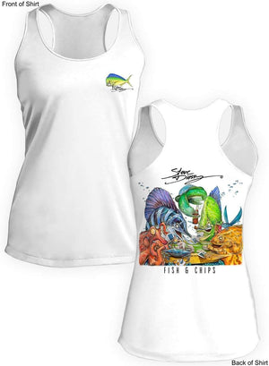 NEW! Fish N' Chips- Ladies Racerback Tank-100% Polyester