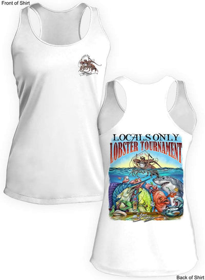 Locals Only Lobster- Ladies Racerback Tank-100% Polyester