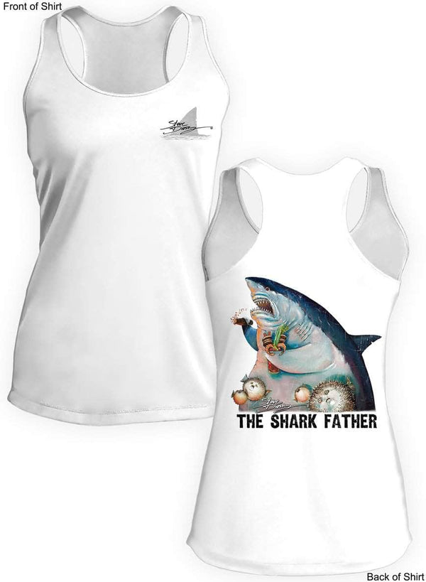 New! The Shark Father- Ladies Racerback Tank-100% Polyester