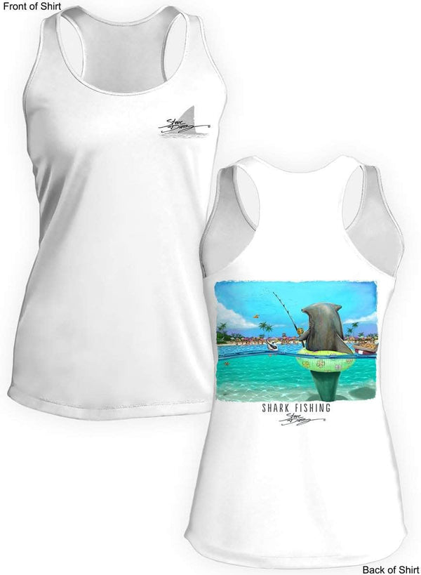 Shark Fishing- Ladies Racerback Tank-100% Polyester
