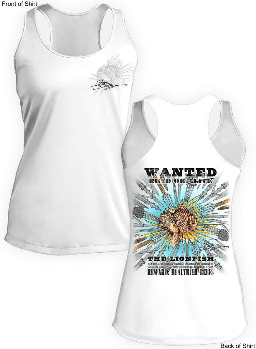 327aeecf00666 Lionfish Wanted- SPEARS- Ladies Racerback Tank-100% Polyester