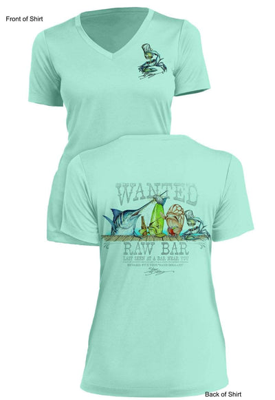 Raw Bar- Ladies Short Sleeve V-Neck-100% Polyester