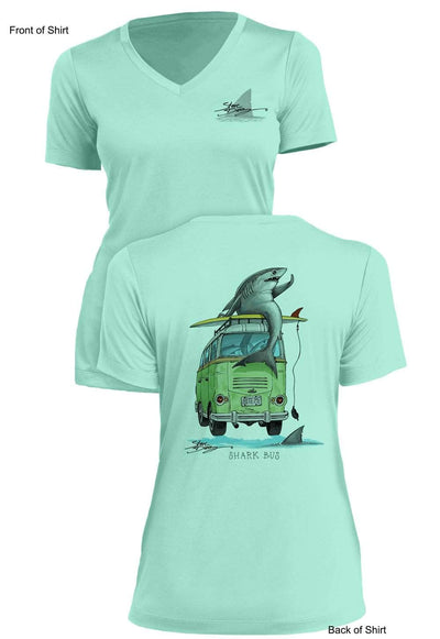 NEW! Shark Bus - Ladies Short Sleeve V-Neck-100% Polyester