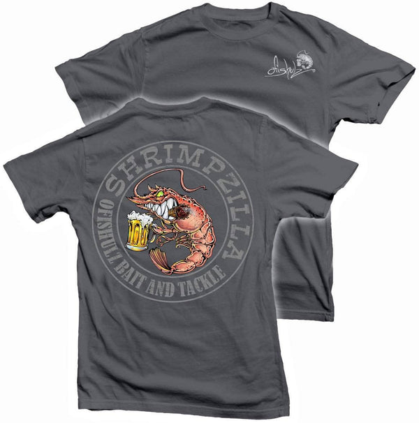 Shrimpzilla (charcoal shirt) 100% combed ringspun cotton (SMALL,MED, LARGE ONLY)