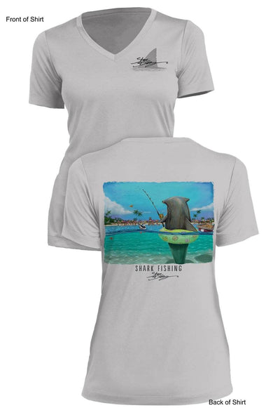 Shark Fishing- Ladies Short Sleeve V-Neck-100% Polyester