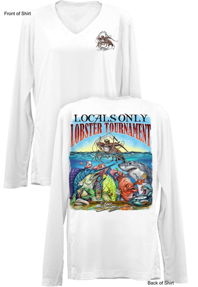 Locals Only Lobster- Ladies Long Sleeve V-Neck-100% Polyester