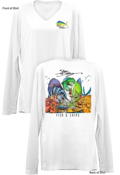 Fish N' Chips- Ladies Long Sleeve V-Neck-100% Polyester