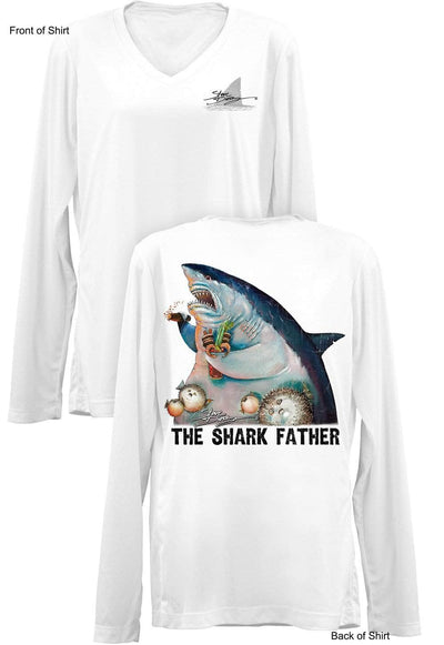 The Shark Father- Ladies Long Sleeve V-Neck-100% Polyester