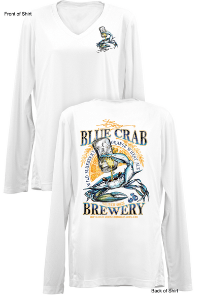 Blue Crab Brew- Ladies Long Sleeve V-Neck-100% Polyester