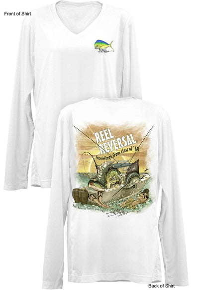 Reel Reversal- Ladies Long Sleeve V-Neck-100% Polyester