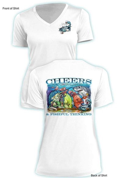 Tito's Cheers - Ladies Short Sleeve V-Neck-100% Polyester
