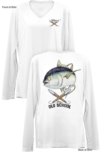 Old School Tuna- Ladies Long Sleeve V-Neck-100% Polyester