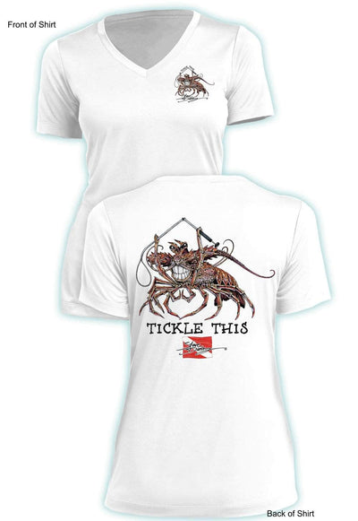 Tickle This Lobster- Ladies Short Sleeve V-Neck-100% Polyester