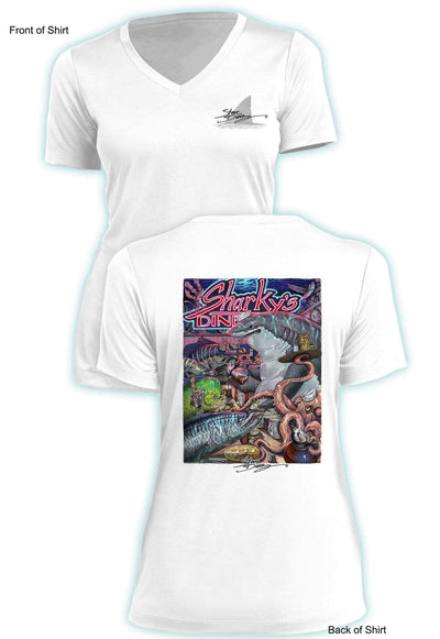 NEW! Sharky's Diner - Ladies Short Sleeve V-Neck-100% Polyester