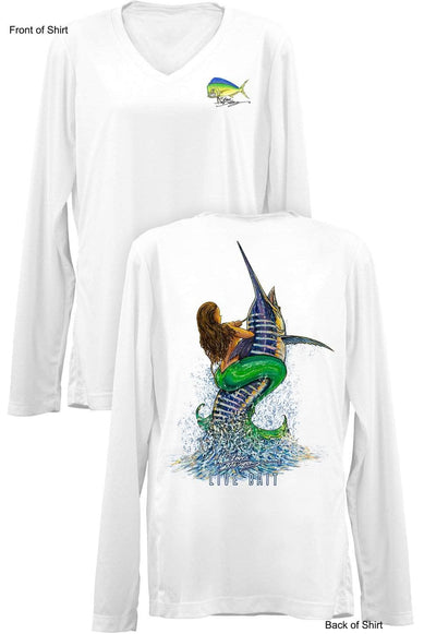 Live Bait- Ladies Long Sleeve V-Neck-100% Polyester