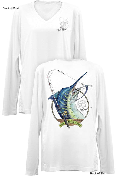 Dirty Marlin- Ladies Long Sleeve V-Neck-100% Polyester