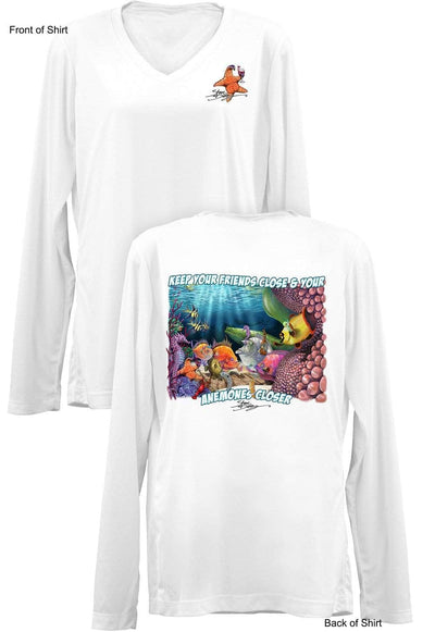 Anemones Closer- Ladies Long Sleeve V-Neck-100% Polyester