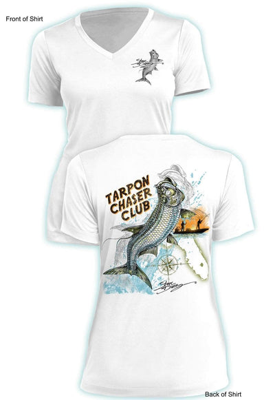 Tarpon Chaser- Ladies Short Sleeve V-Neck-100% Polyester