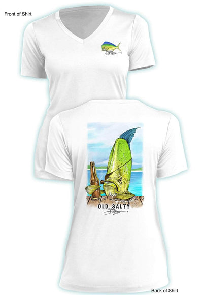 Old Salty- Ladies Short Sleeve V-Neck-100% Polyester