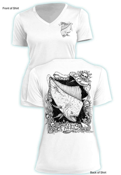 Tail Chaser- Ladies Short Sleeve V-Neck-100% Polyester