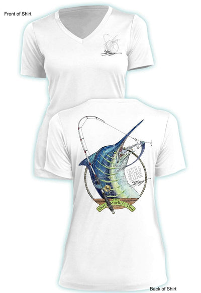 Dirty Marlin- Ladies Short Sleeve V-Neck-100% Polyester