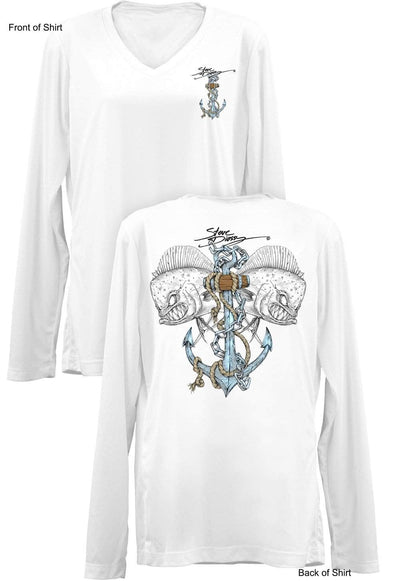 Mahi Anchor- Color- Ladies Long Sleeve V-Neck-100% Polyester
