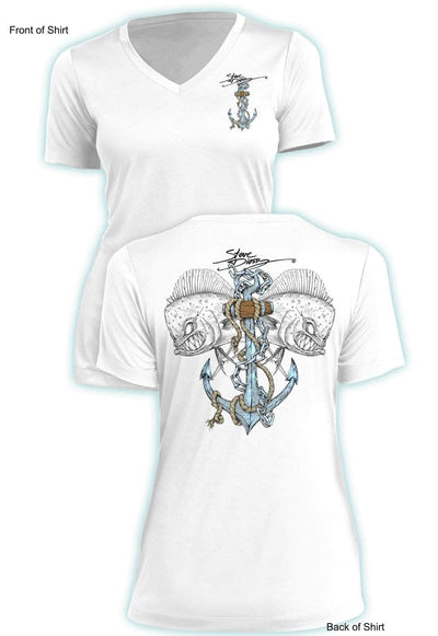 Mahi Anchor Color- Ladies Short Sleeve V-Neck-100% Polyester