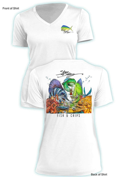 Fish N' Chips- Ladies Short Sleeve V-Neck-100% Polyester
