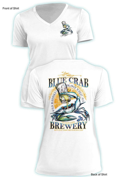 Blue Crab Brew - Ladies Short Sleeve V-Neck-100% Polyester