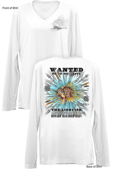 Lionfish Wanted-SPEARS- Ladies Long Sleeve V-Neck-100% Polyester