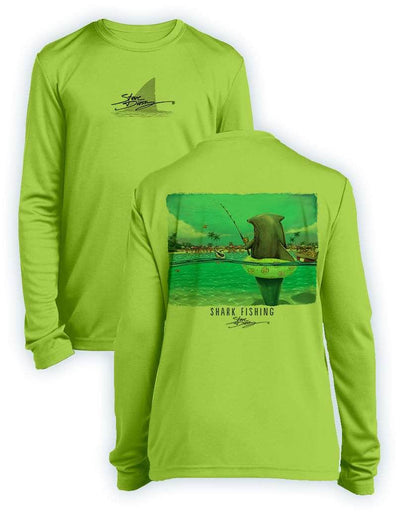 NEW! Shark Fishing- KIDS Long Sleeve Performance - 100% Polyester