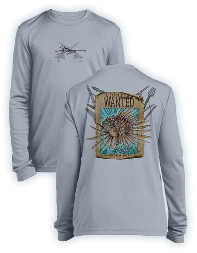 Lionfish Wanted Poster- KIDS Long Sleeve Performance - 100% Polyester