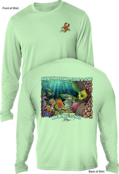 NEW! Anemones Closer - UV SUN PROTECTION SHIRT - 100% POLYESTER -LONG SLEEVE UPF 50