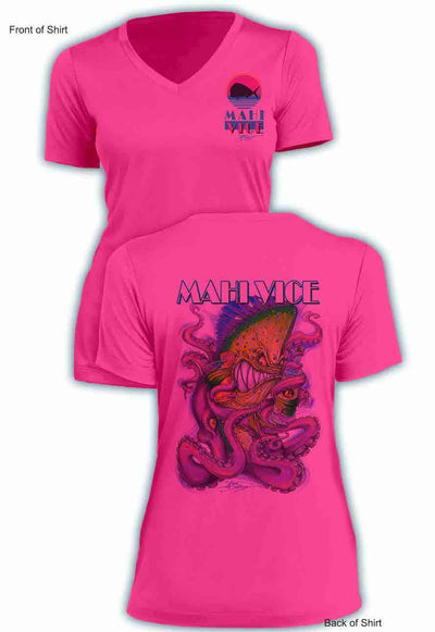 NEW! Mahi Vice- Ladies Short Sleeve V-Neck-100% Polyester