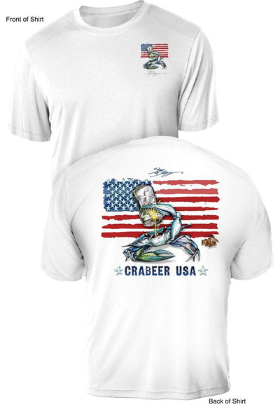 NEW! Crabeer USA- UV Sun Protection Shirt - 100% Polyester - Short Sleeve UPF 50