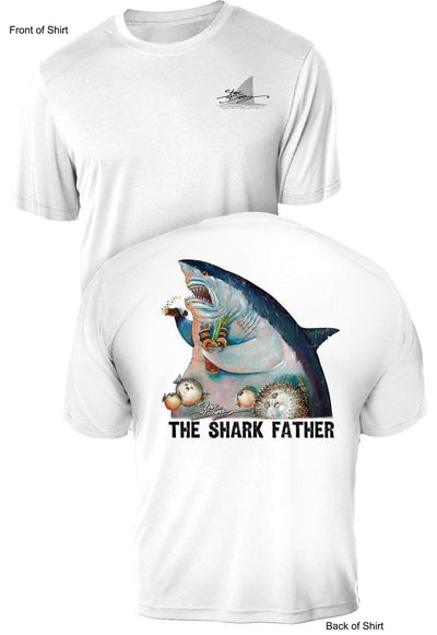 The Shark Father- UV Sun Protection Shirt - 100% Polyester - Short Sleeve UPF 50
