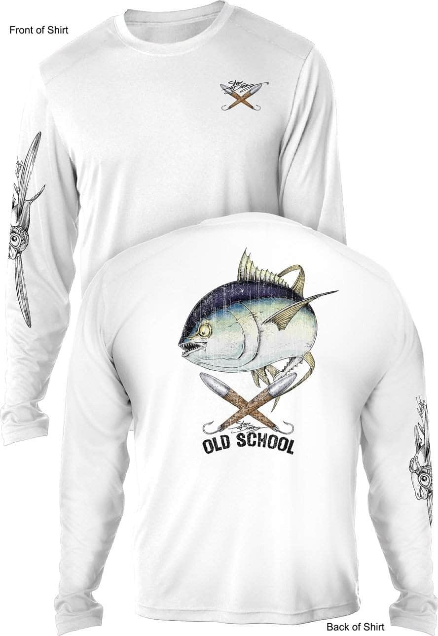 Gray Long Sleeve Microfiber UPF Old School Bass Fishing Shirt