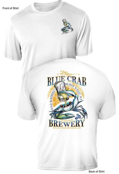 Blue Crab Brew- UV Sun Protection Shirt - 100% Polyester - Short Sleeve UPF 50
