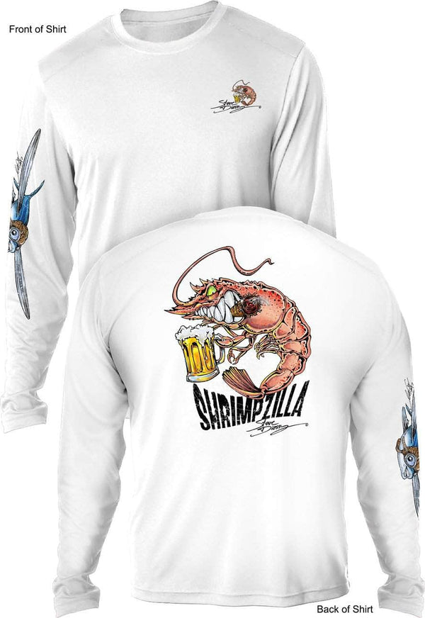 Shrimpzilla- UV SUN PROTECTION SHIRT - 100% POLYESTER -LONG SLEEVE UPF 50