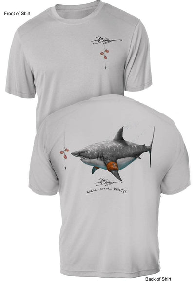 Donut Shark- UV Sun Protection Shirt - 100% Polyester - Short Sleeve UPF 50