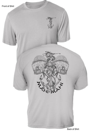 Mahi Anchor- B & W- UV Sun Protection Shirt - 100% Polyester - Short Sleeve UPF 50
