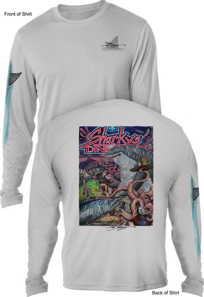 NEW! Sharky's Diner- UV SUN PROTECTION SHIRT - 100% POLYESTER -LONG SLEEVE UPF 50