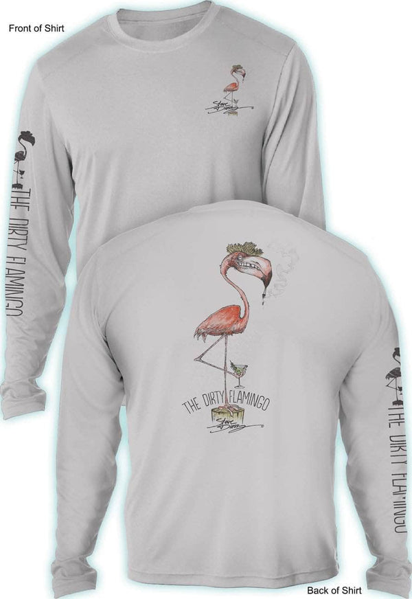 NEW! Dirty Flamingo- UV SUN PROTECTION SHIRT - 100% POLYESTER -LONG SLEEVE UPF 50