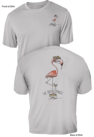 NEW! Dirty Flamingo- UV Sun Protection Shirt - 100% Polyester - Short Sleeve UPF 50