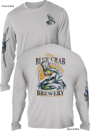 Blue Crab Brew - UV SUN PROTECTION SHIRT - 100% POLYESTER -LONG SLEEVE UPF 50