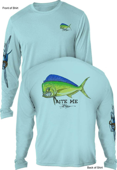 Bite Me Mahi- UV SUN PROTECTION SHIRT - 100% POLYESTER -LONG SLEEVE UPF 50